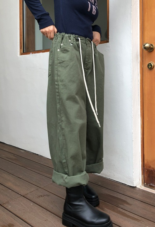 string cotton wide pants