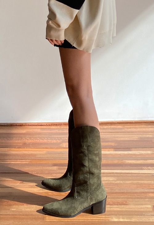 burn suede western boots